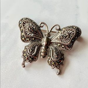 Jewelry - Sterling Silver and Marcasite Butterfly Brooch